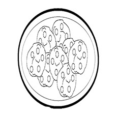 Cookie Coloring Pages - A Plate Of Almond Cookies