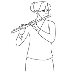 Flute Coloring Page - A Schoolgirl Playing Flute