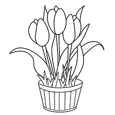 Vase Full Of Tulips Coloring Page