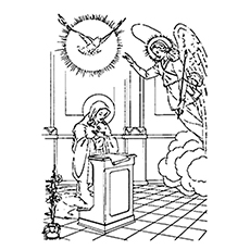 Pigeon Coloring Page   Angel Gabriel And Mary