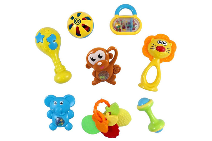 Animal Fun 8 Piece Baby Rattle and Teether Toy Play Set in Milk Bottle