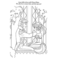 frozen anna falling in love with hans coloring pages - Elsa And Anna Coloring Pages