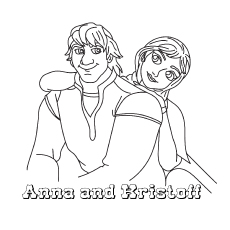 Anna and Kristoff Sitting Together Picture to Color