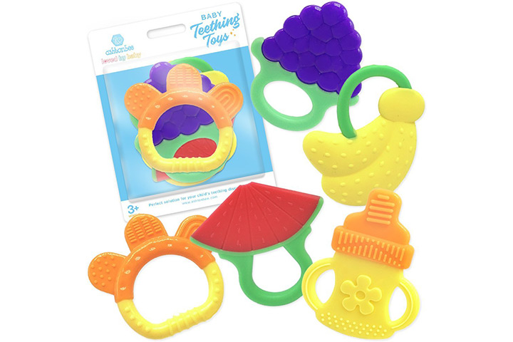 Ashtonbee Baby Teething Relief Toys with Fruit Design (FDA-approved, BPA-free)