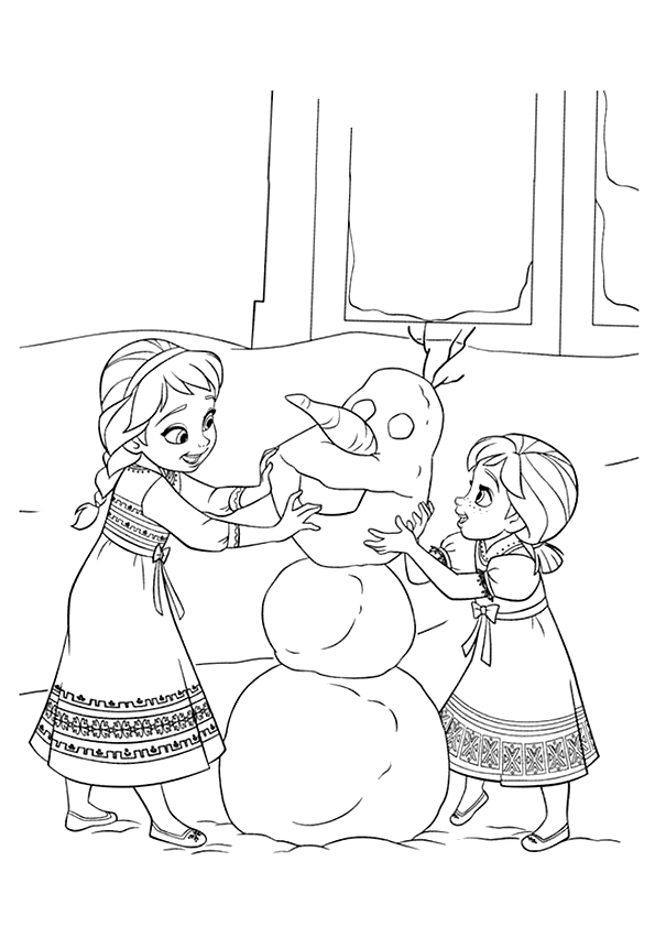 Baby-Anna-And-Baby-Elsa-Making-Olaf