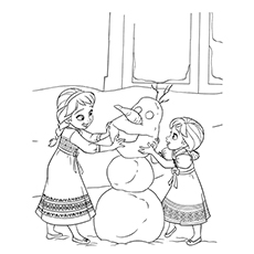 baby anna and baby elsa making olaf in frozen coloring pages