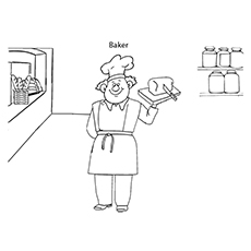 Baker And Bread Coloring Page