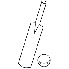 Cricket Coloring Page - Bat And Ball