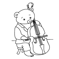 Violin Coloring Page Bear Playing