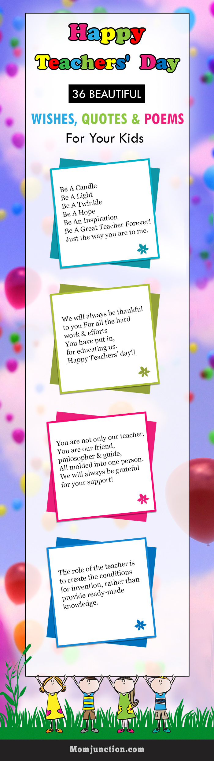 36 beautiful teacher's day quotes wishes  poems for kids