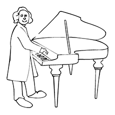 Piano Coloring Pages - Beethoven Playing Piano