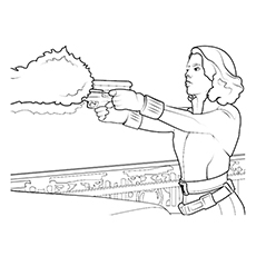 Black Widow Avengers Firing Printable Coloring Pages