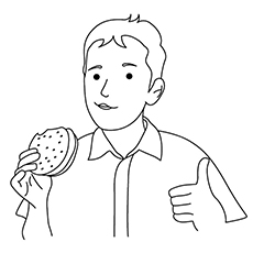 Burger Coloring Pages - Boy Enjoying Burger