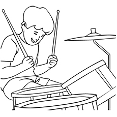 drum coloring page boy playing acoustic drum