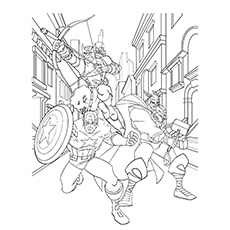 Main Characters Captain America, Thor, And Hawkeye from Avengers Series Coloring Page Free