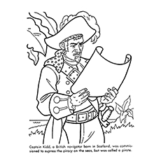 Pirate Coloring Pages - Captain Kidd