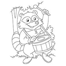 Cartoon Raccoon Coloring Page