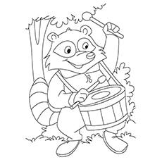 Cartoon Raccoon Coloring Page