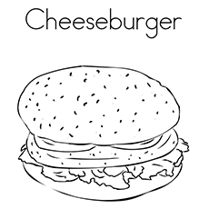 Burger Coloring Pages - Cheeseburger