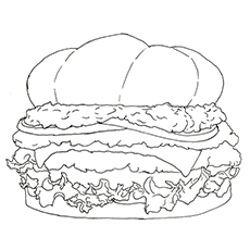 Burger Coloring Pages - Chicken Burger