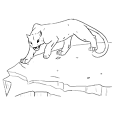 Cougar Coloring Page - Cougar On A Cliff