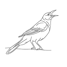Crow Coloring Page - Crow Making A Call