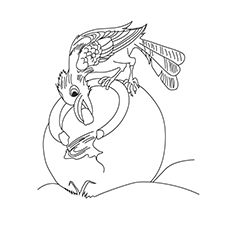 Crow Coloring Page - Crow Soaring In The Sky
