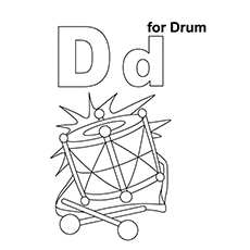 drum coloring page d for drum