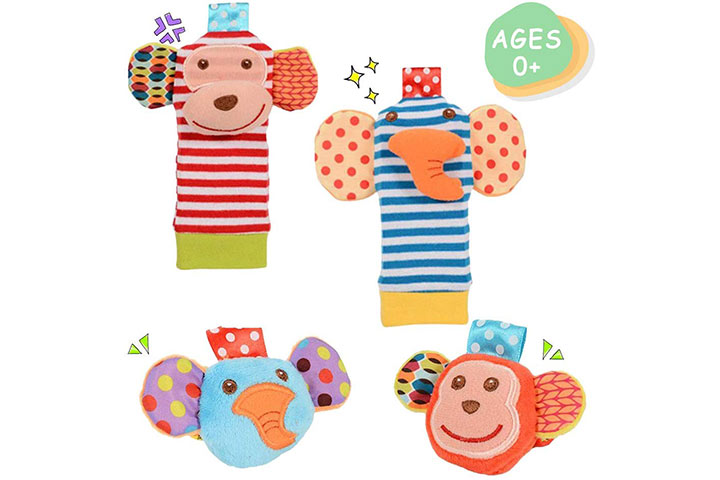 Daisy Cute Animal Wrist and Foot Rattles Finder Socks Set 1271