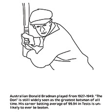 Cricket Coloring Page - Donald Bradman