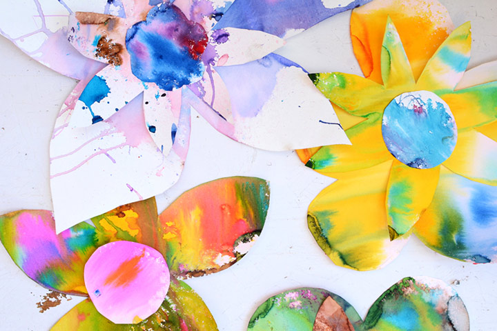 Painting For Kids - Drippy Water Color Flower Art