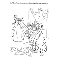 Attractive Frozen Elsa Accidentally By Freezing Curse On Anna Coloring Pages