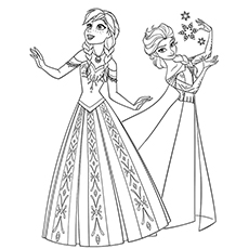 Coloring Pages Of Characters Elsa And Anna From Disney Frozen To Print