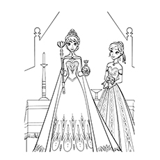 Wonderful Elsa Getting Ready For Her Coronation Frozen Coloring Pages
