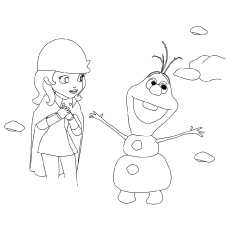Elsa Keeps Olaf from Melting Coloring Picture