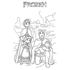 Elsa With Her Family Frozen Coloring Pages