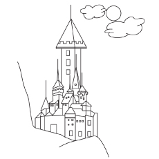 Free Printable Elsa Beautiful Castle Coloring Pages