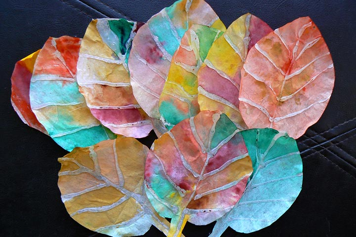 Painting For Kids - Fall Leaves With Coffee Filters And Glue Gun
