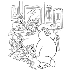 Frosty The Snowman Coloring Pages - Frosty Parading With The Kids