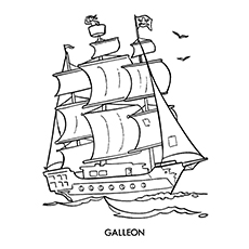Pirate Coloring Pages - Galleon