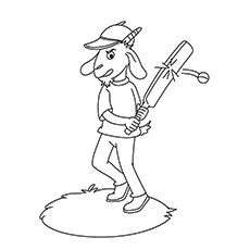 Cricket Coloring Page - Goat Playing Cricket