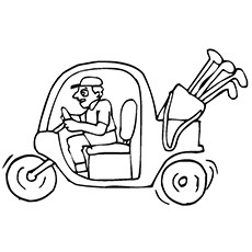 Golf Coloring Pages - Golf Cart