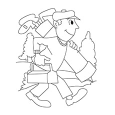 Golf Coloring Pages - Golfer Heading To Play Golf