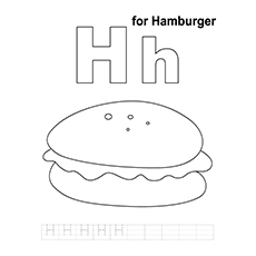 Burger Coloring Pages - H For Hamburger