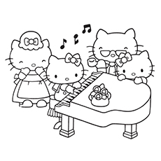 Piano Coloring Pages - Hello Kitty Playing Piano