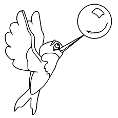 Hummingbird Coloring Pages - Hummingbird Playing With A Bubble