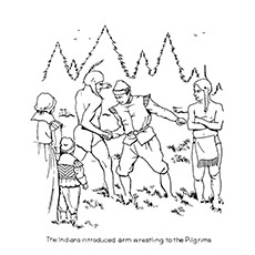 Indian Introducing Wrestling To The Pilgrims Coloring Sheet
