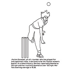 Cricket Coloring Page - Jhulan Goswami