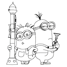 ken two eyed minion minion kevin coloring sheet - Minion Coloring Pages