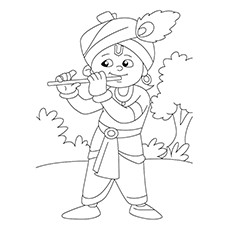 Flute Coloring Page - Krishna Playing Flute